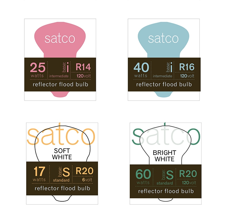 satco lightbulb package designs